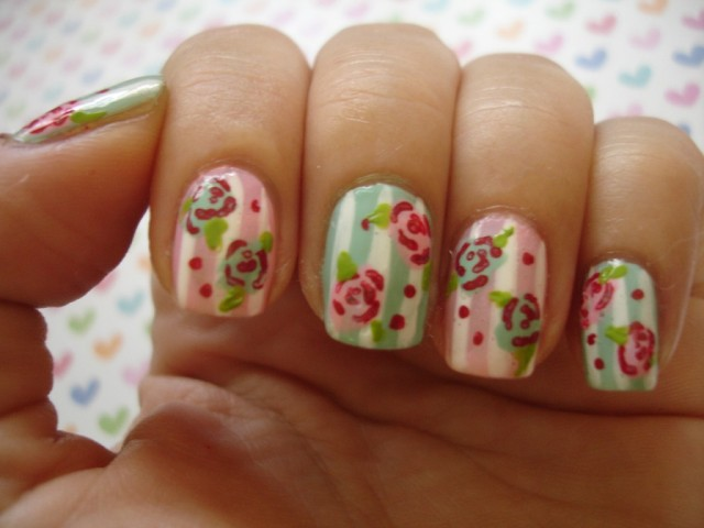 Striped Flower Nail Design