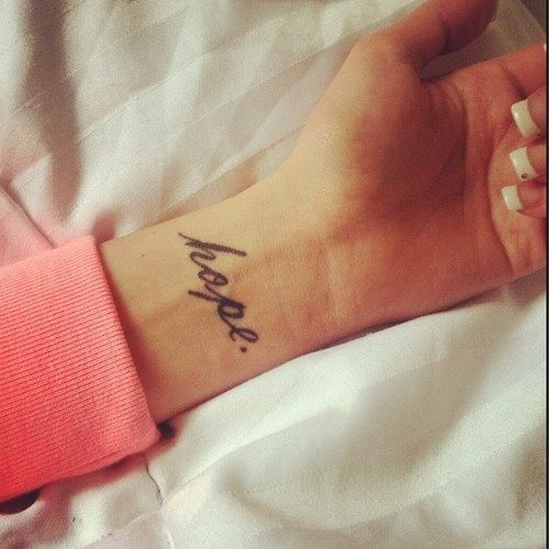 Wrist hope tattoo