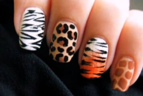 Classic nail art design with animal motif