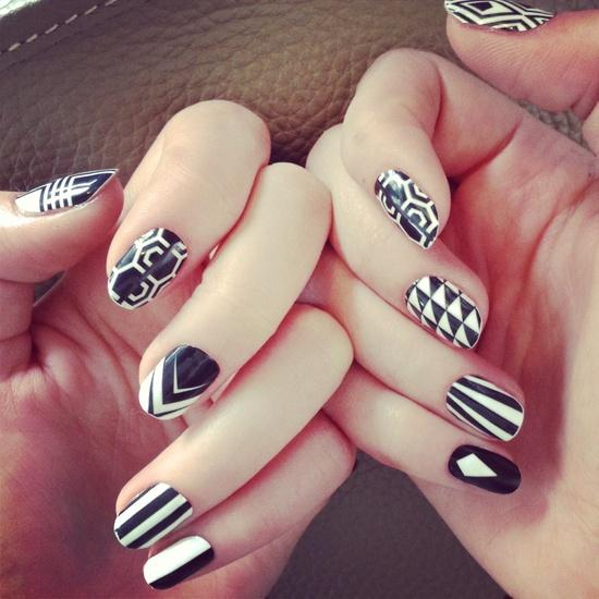 Tribal Mismatched Nail Designs