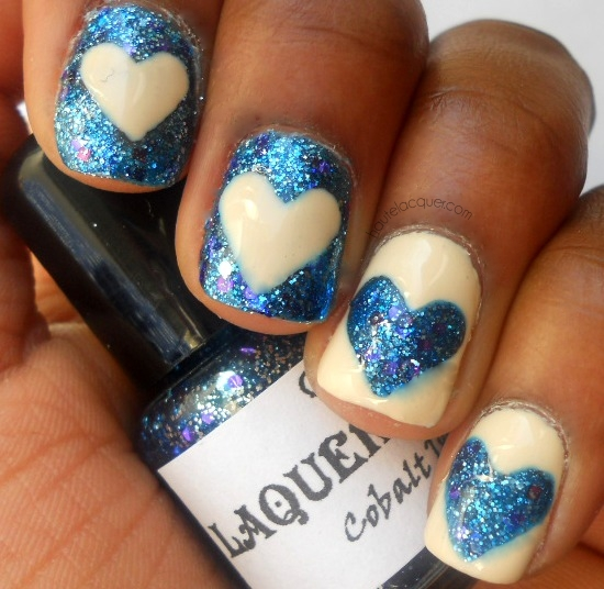 Glittering, mismatched nail designs
