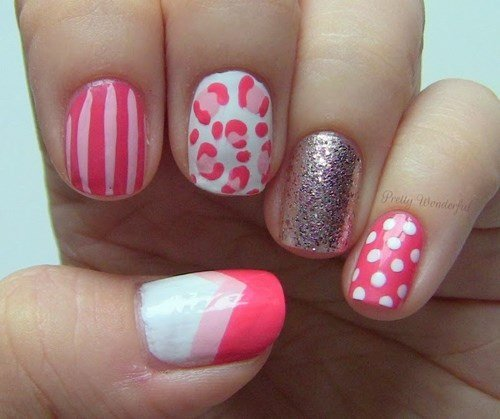 Pink mismatched nail designs
