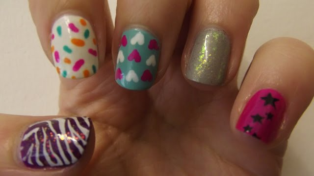 Mismatched nail designs with mini printing