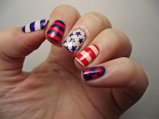 Flag mismatched nail designs