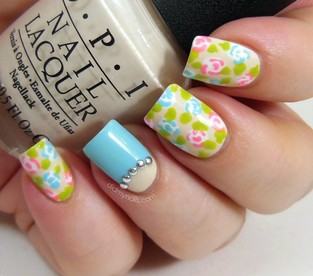 Pastel colored flower nail design
