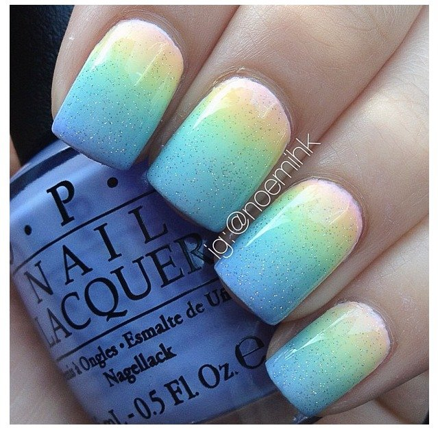 Glittering ombre pastels