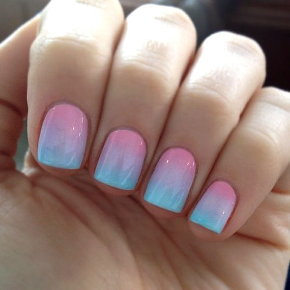 Blue and pink ombre pastels
