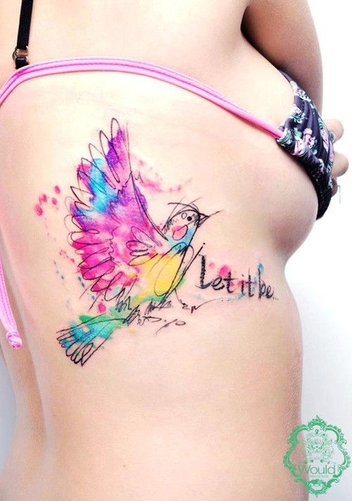 Watercolor Let it be tattoo
