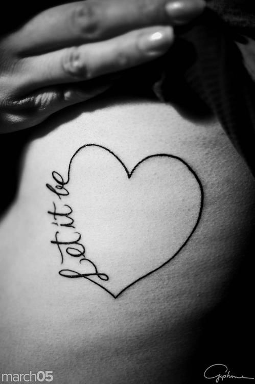 Heart shape Let it be tattoo