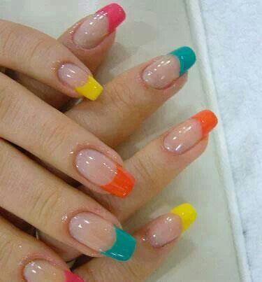 Colorful bright nails
