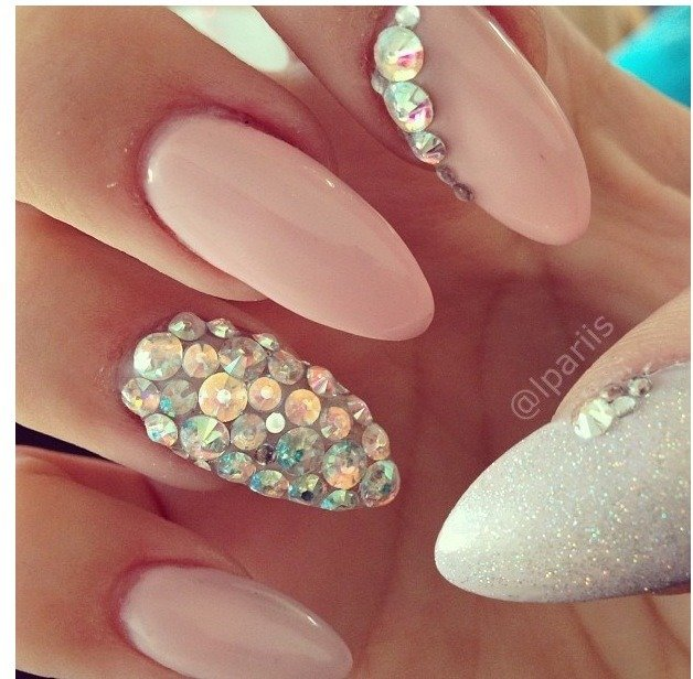 Naked nails with diamonds