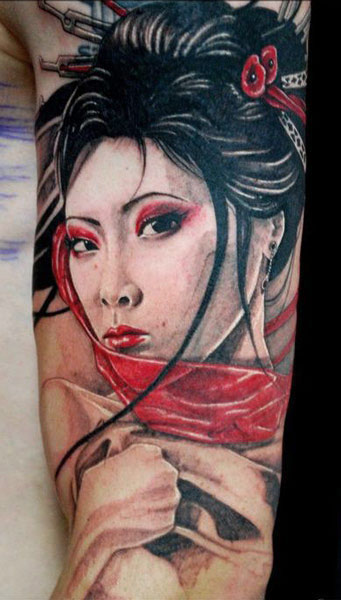 Japanese girl tattoo on the back