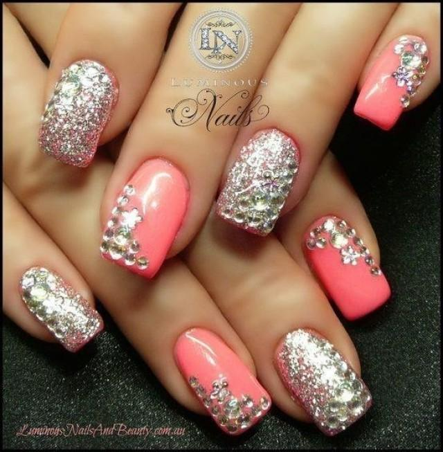 Pink decorated gemstone nails