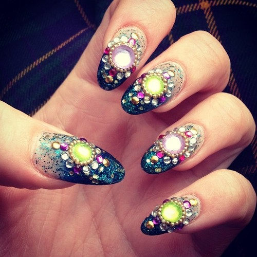 Green decorated gemstone nails
