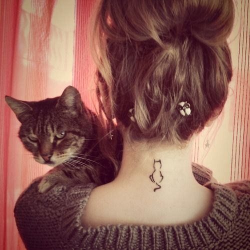 Simple cat neck tattoo