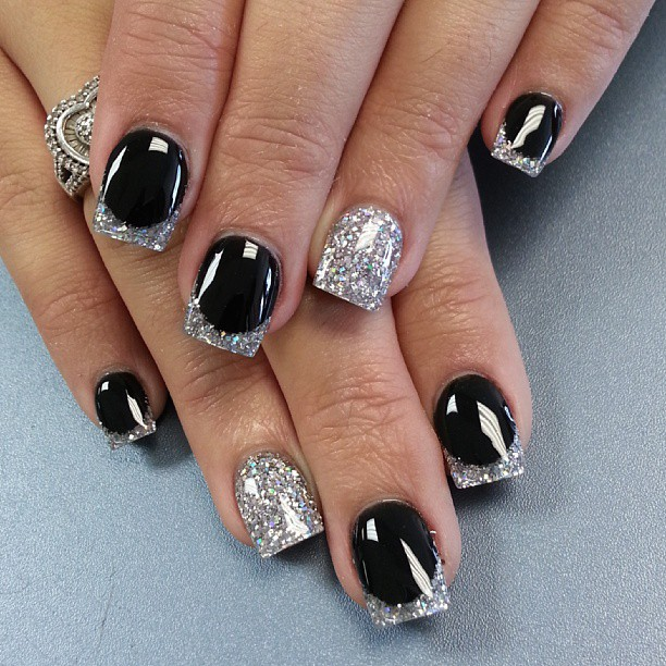 Black and silver nails for elegant nail designs