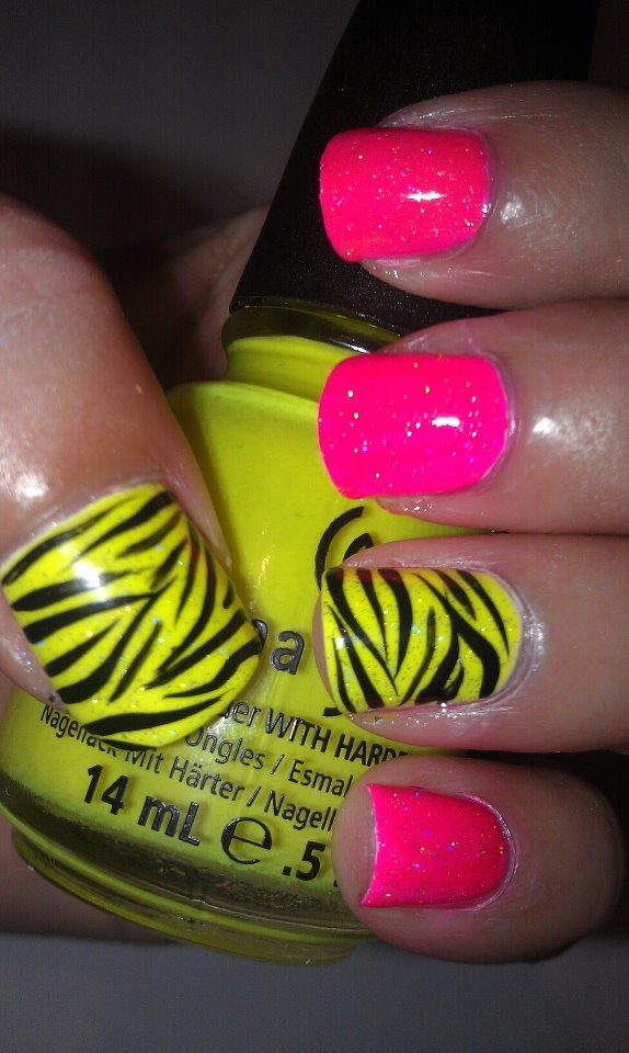 Neon pink and neon yellow nails