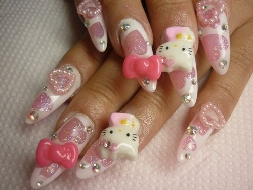 Lace kitty nails