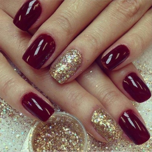 Red and gold nail design