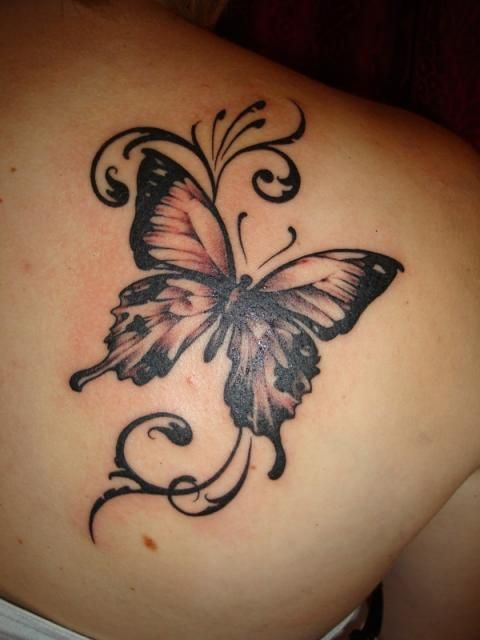 Butterfly tattoo on the shoulder