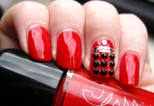 Red decorated nails