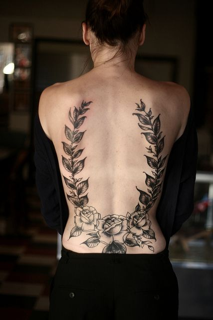 Rose tattoo on the back