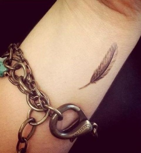 Small feather tattoo on the wrist
