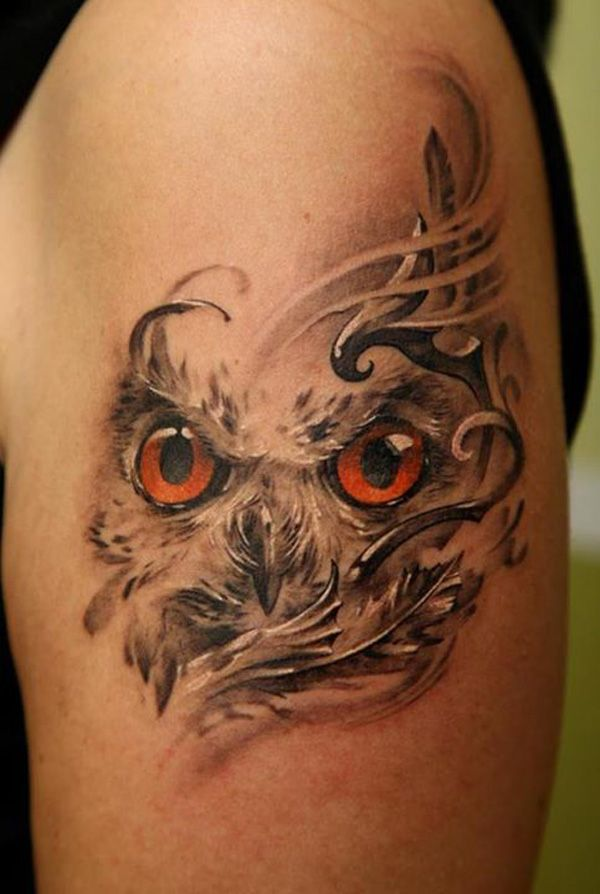 Pretty owl tattoo