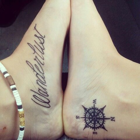 Compass tattoo on ankle