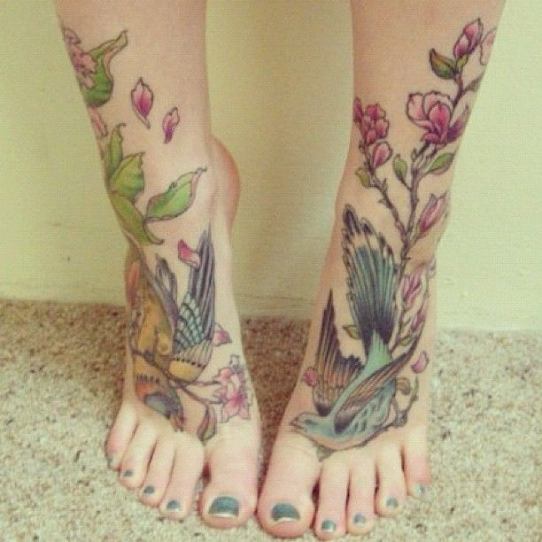 Flower and bird tattoo