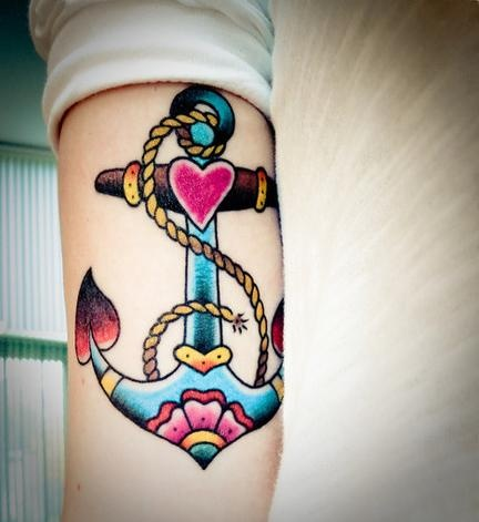Anchor and rope tattoo