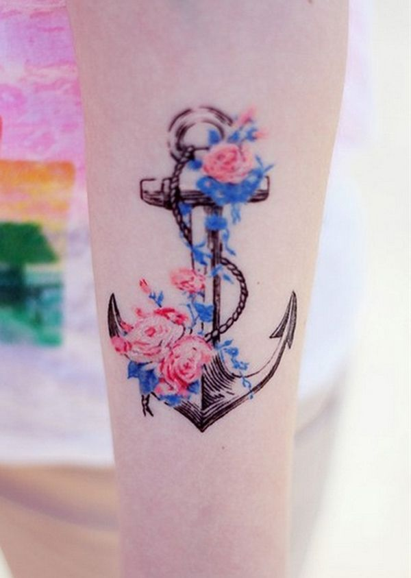 Anchor and flower tattoo