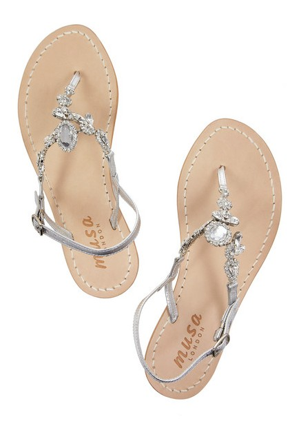 MUSA embellished silver leather sandals