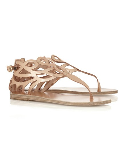 ANCIENT CREEK Medea sandals with mirrored leather neckline