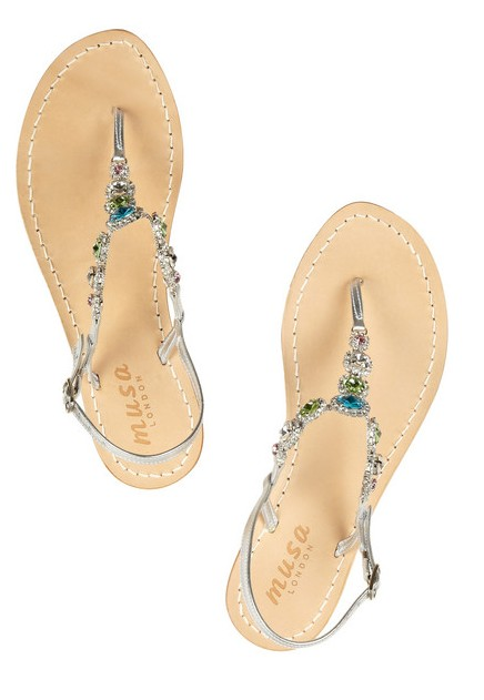 MUSA sandals in metallic leather with crystal embellishment