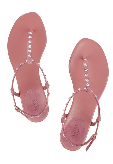 GUCCI crystal embellished leather sandals