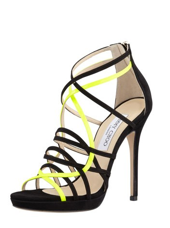 Jimmy Choo Mythos strappy sandal made of suede, black yellow