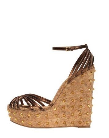 Gucci Leather Studded-Wedge sandal, bronze