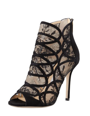 Jimmy Choo Fauna Lace Suede Cage Sandal, Black