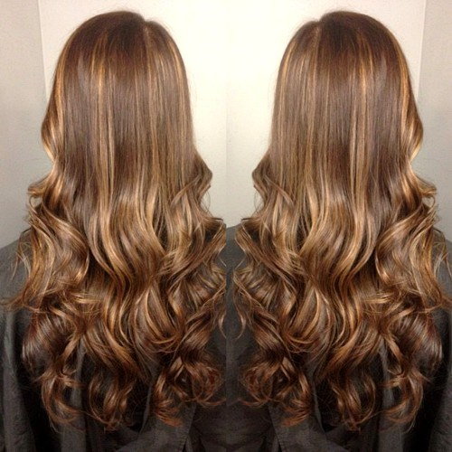 Blonde highlighted curls