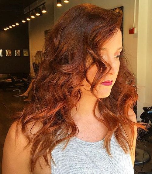 Red and brown medium length curls