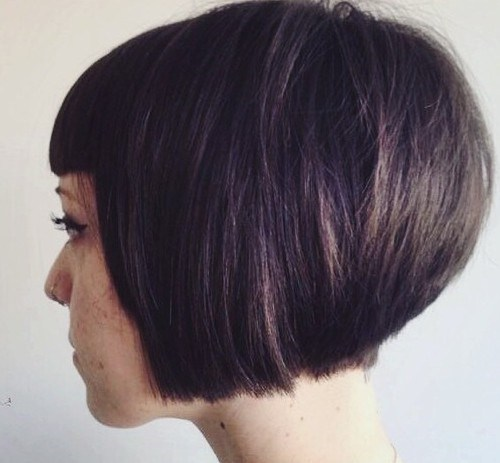Stacked bob with blunt bangs