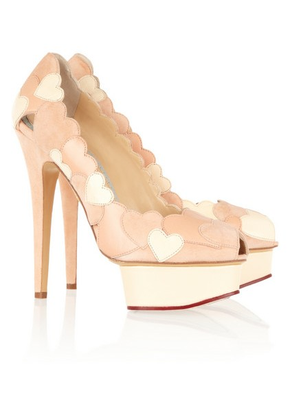 Charlotte Olympia Love Me pumps in leather and suede with heart application