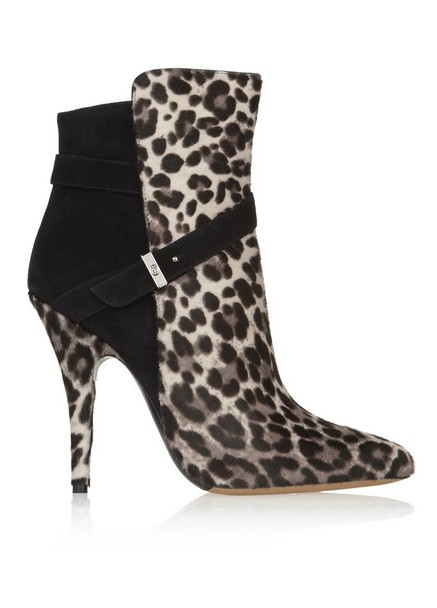 Tabitha Simmons Hunter calf hair with leopard print and suede ankle boots