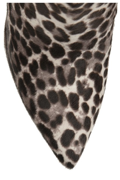Front view of Tabitha Simmons Hunter calf hair with leopard print and suede ankle boots