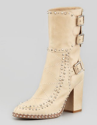 Laurence Dacade Baulence rivet boots with rivets, beige