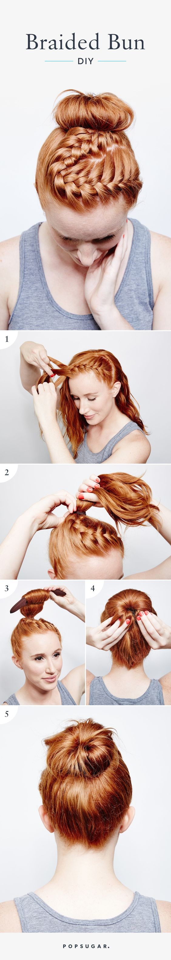 braided top bun for light hair over