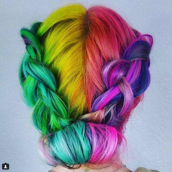 Pigtail updo hairstyle