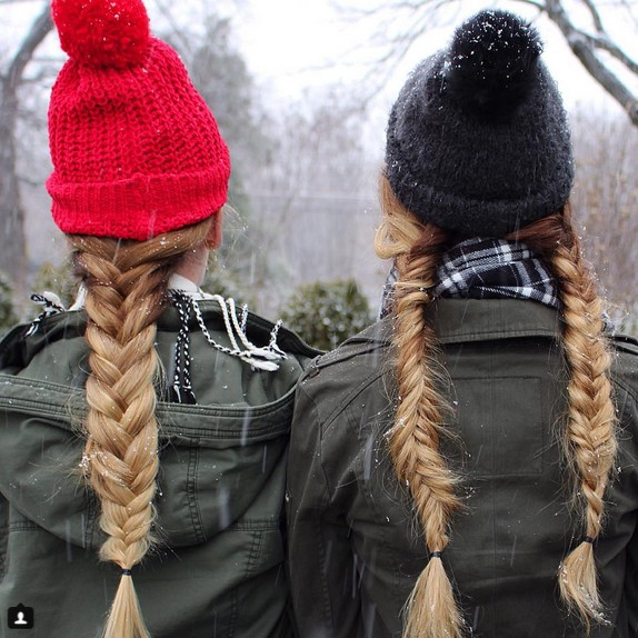 Double braid ponytail hairstyle