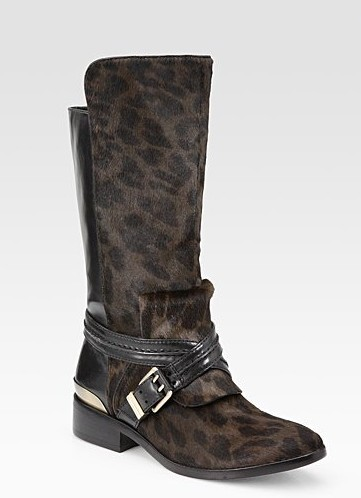 Doville leather and calf hair mid-calf boots ($ 600)